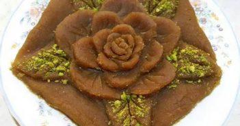 تزیین حلوا به شکل گل