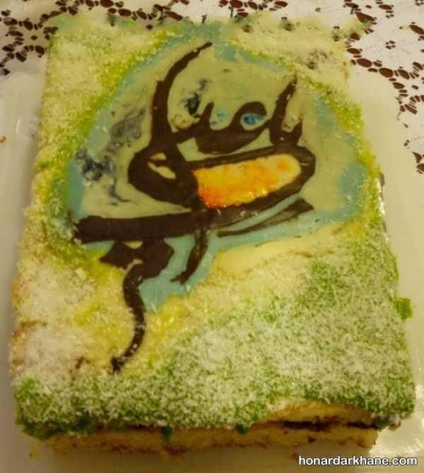 تزیین کیک با روکش سبز