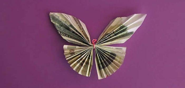 تزیین پول به شکل پروانه