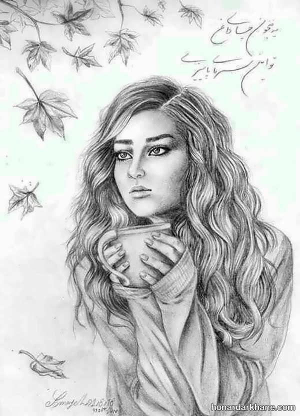مدل نقاشی با مداد سیاه