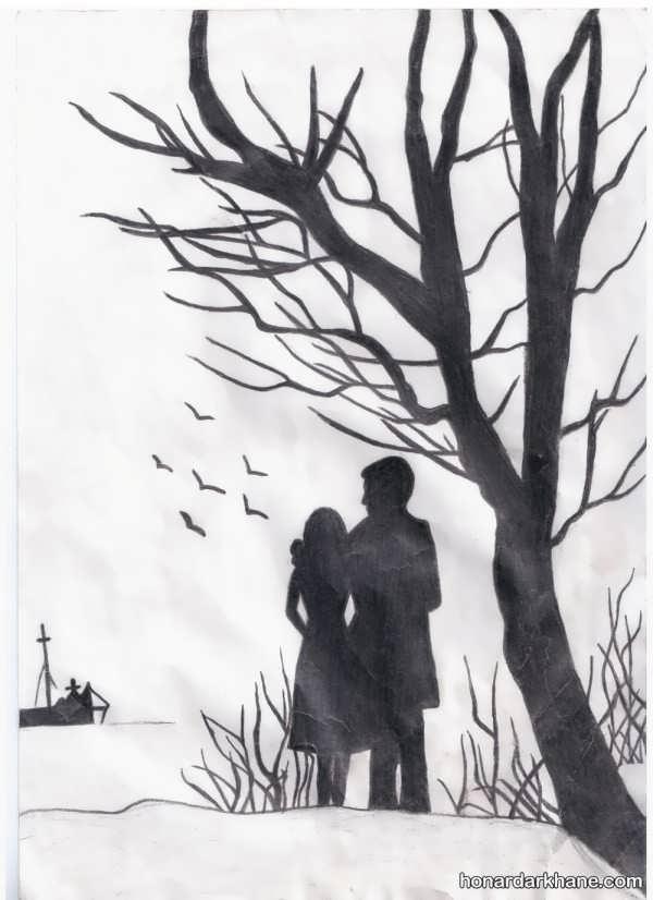 نقاشی عاشقانه سیاه و سفید