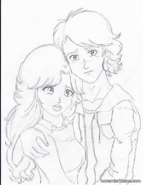 نقاشی سیاه سفید عاشقانه نقاشی عاشقانه و فانتزی دختر و پسر - روجانیوز