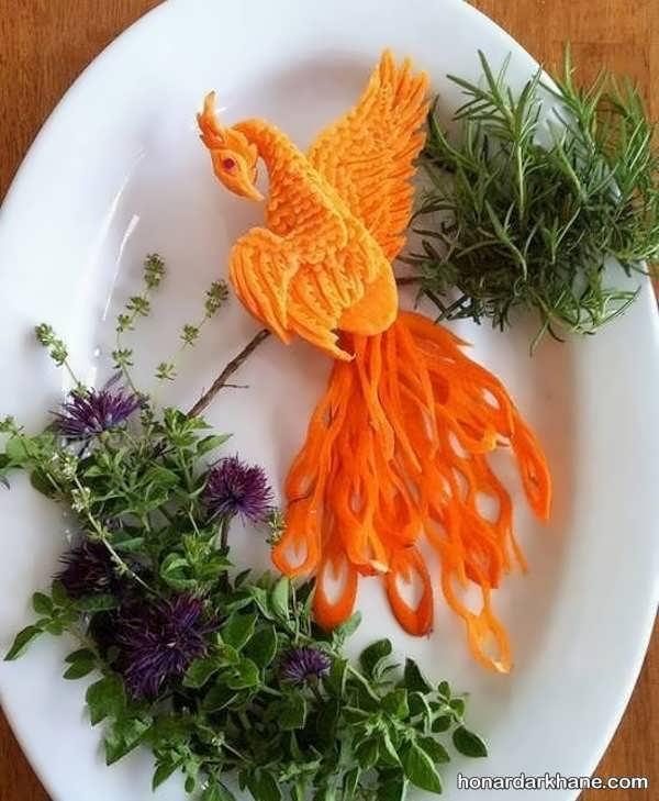 تزیین هویج به شکل پرنده