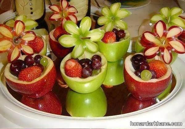 تزیین سیب به شکل گل