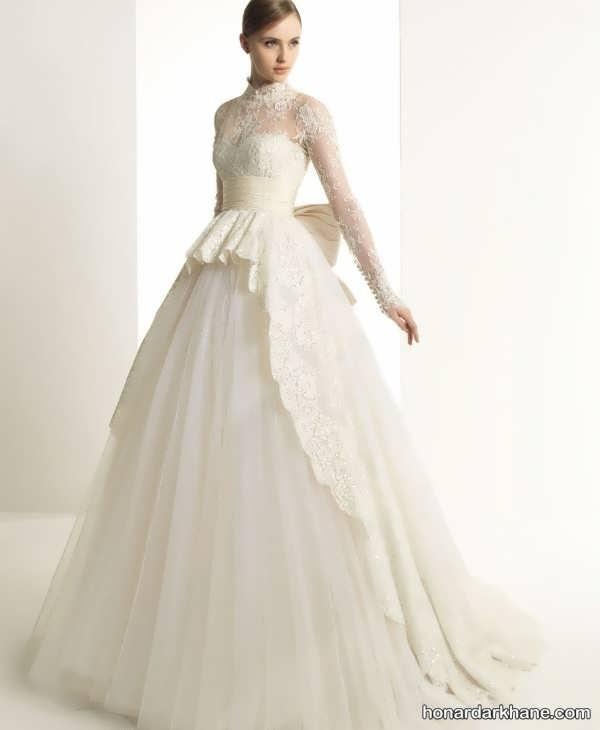 لباس عروس با آستین گیپور