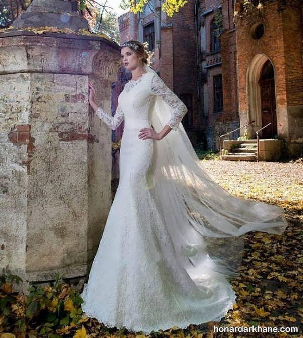 مدل لباس عروس با آستین