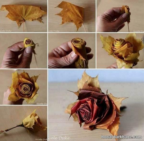 ساخت گل رز با برگ های پاییزی