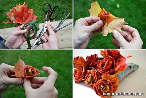 خلاقیت با برگ های پاییزی