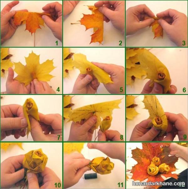 آموزش ساخت گل رز با برگ