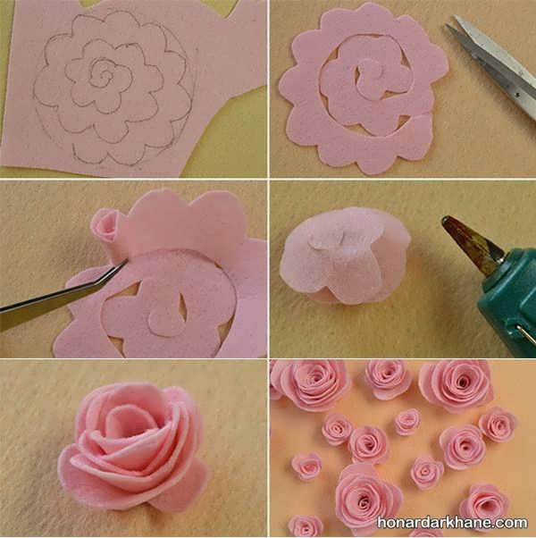 آموزش هایی با پارچه نمدی ساخت گل نمدی با الگو و ایده هایی برای گلسازی با پارچه نمد