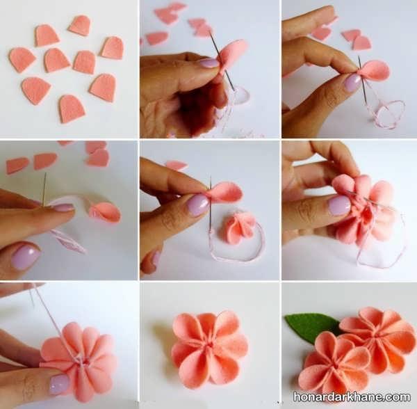 آموزش ساخت گل با پارچه نمد
