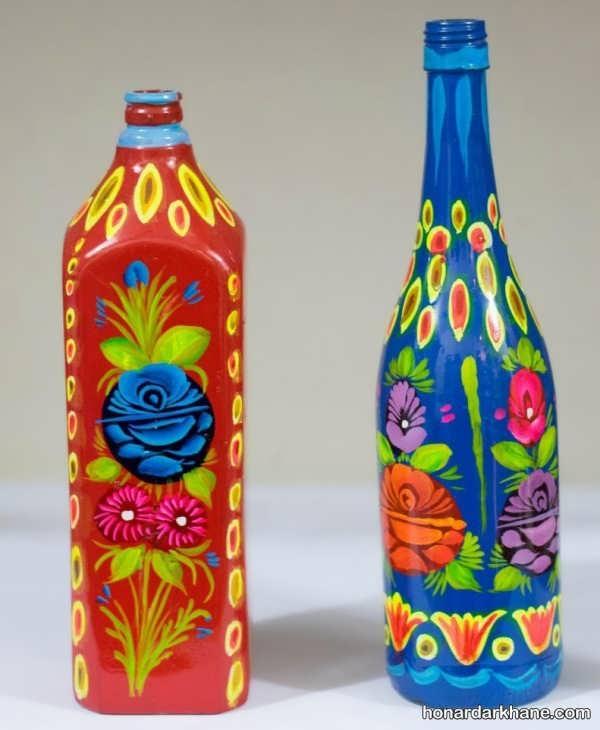 مدل نقاشی ساده روی بطری شیشه ای