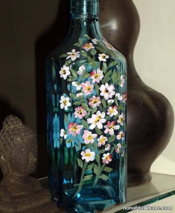 نقاشی ویترای روی بطری شیشه ای