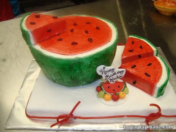 تزیین کیک زیبا به شکل هندوانه