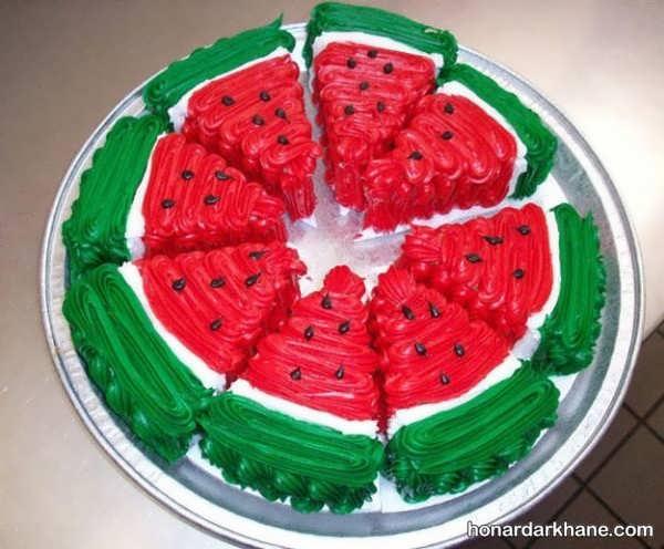 تزیین کیک به شکل برش هندوانه