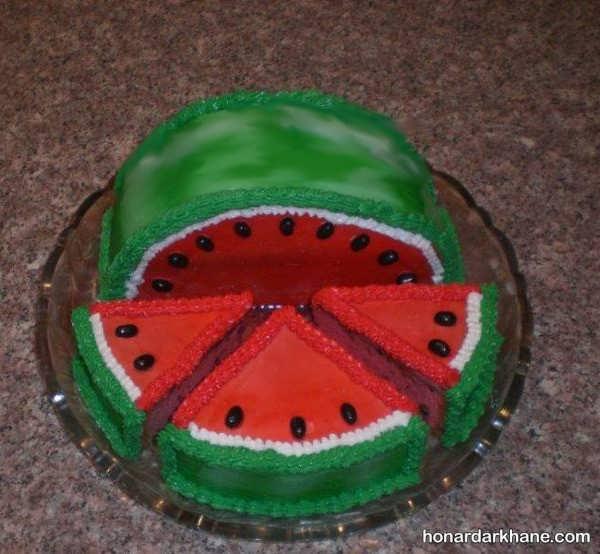 تزیین کیک هندوانه ای