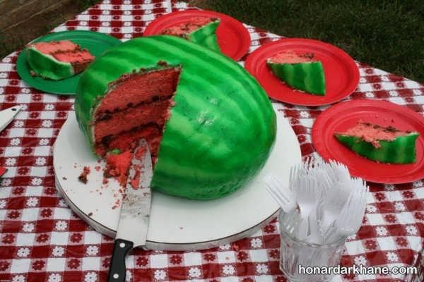 تزیین کیک هندوانه ایی