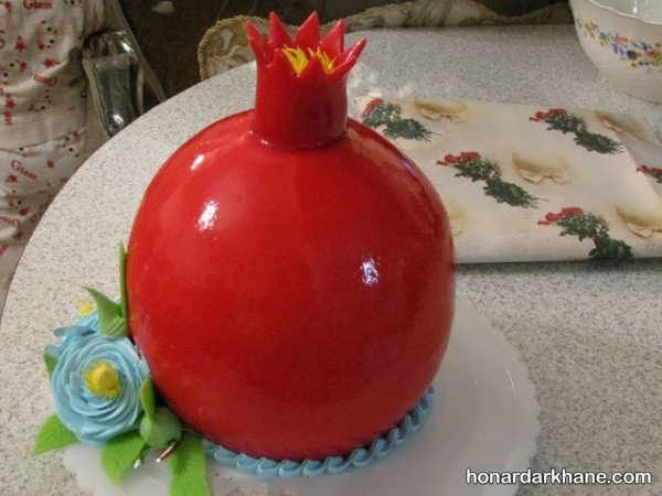 تزیین کیک به شکل انار