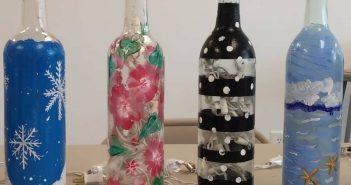 نقاشی روی بطری شیشه ای