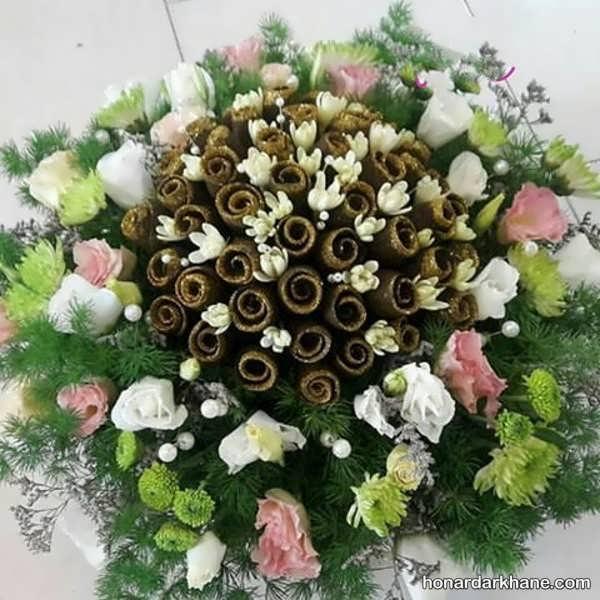 تزیین سبد حنا با گل طبیعی