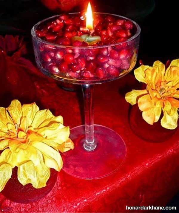 تزیین شمع با انار