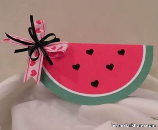 ساخت هندوانه با کاغذ رنگی
