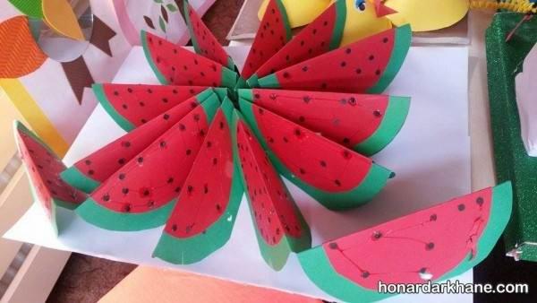 کاردستی هندوانه با مقوا