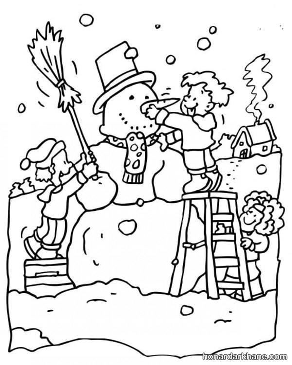 مدل نقاشی زمستان کودکانه و رنگ آمیزی فصل زمستان