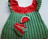 لباس بافتنی شب یلدا با طرح هندوانه و انار