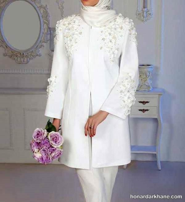 مدل مانتو سفید برای عروس
