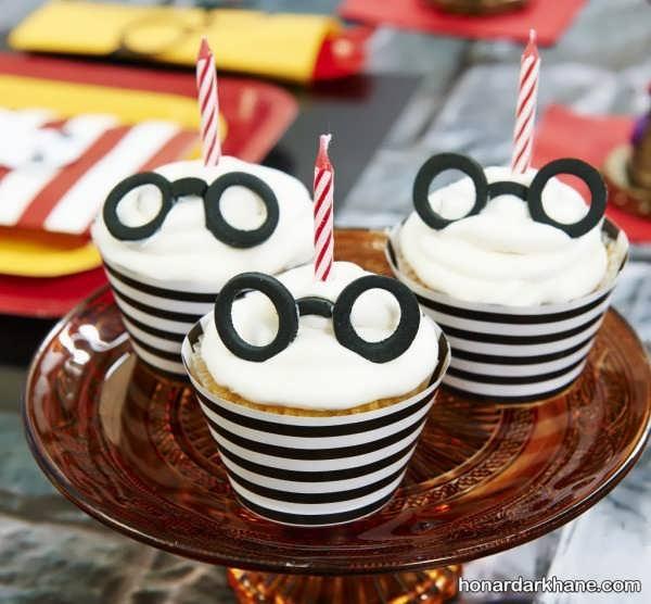 تزیین کاپ کیک با تم تولد هری پاتر