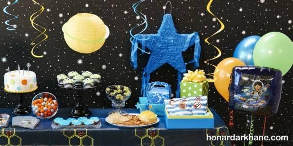 تزیین میز تولد تم مایلز از سرزمین فردا