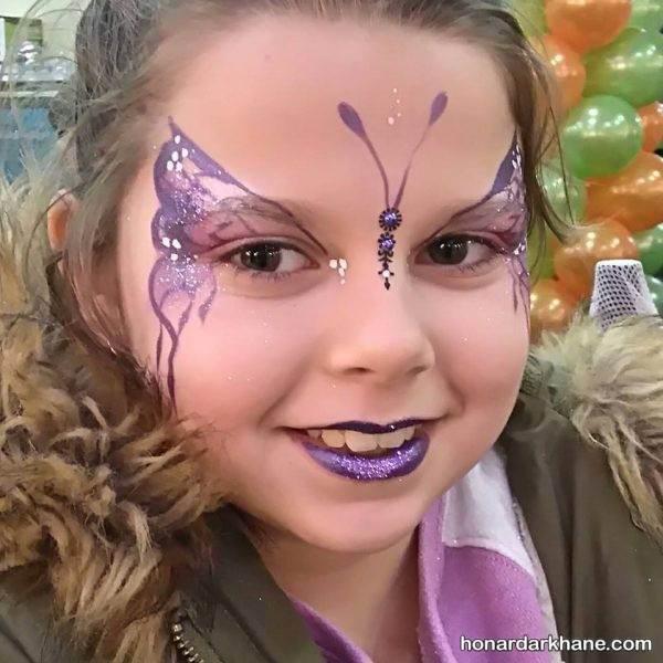 نقاشی پروانه روی صورت