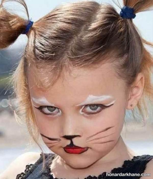 نقاشی گربه روی صورت بچه ها