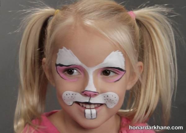 نقاشی خرگوش روی صورت