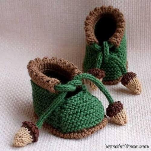 مدل پاپوش شیک سبز و قهوه ای نوزادی