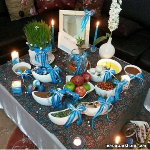 تزیین ظروف هفت سین با روبان آبی