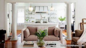 طراحی زیبای اتاق پذیرایی با گلدان