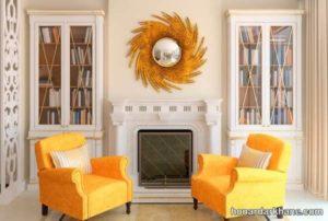 تزیین جذاب اتاق پذیرایی با تم زرد