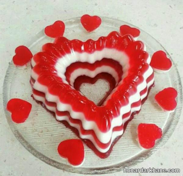 ژله قرمز و سفید برای ولنتاین