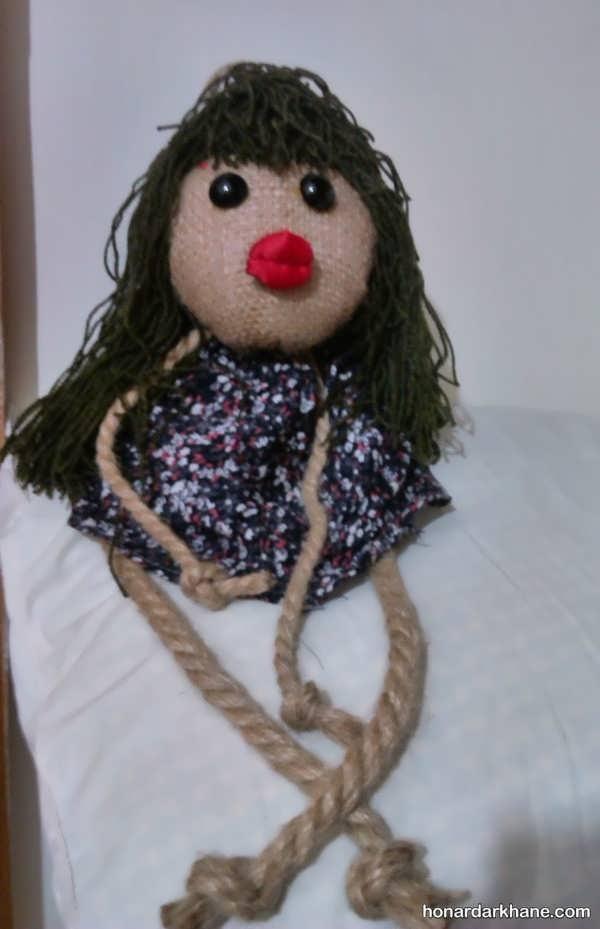 سالخت عروسک پارچه ای با گونی در خانه