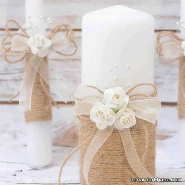 تزیین شمع با کنف برای هفت سین