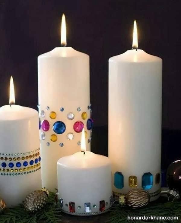 تزیین شمع با سنگ تزیینی