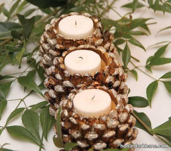 تزیین شمع های هفت سین با کاج