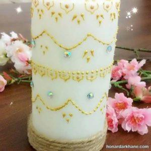 تزیین شمع با چسب تزینی
