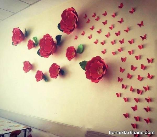 تزیین دیوار با گل های مقوایی