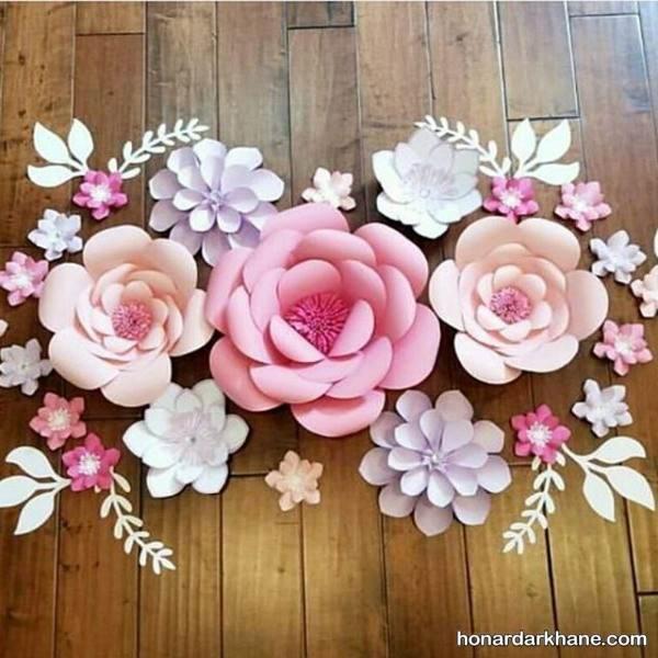 تزیین دیوار با گل مقوایی