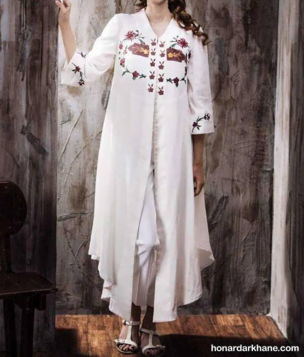 مدل مانتو حریر سفید