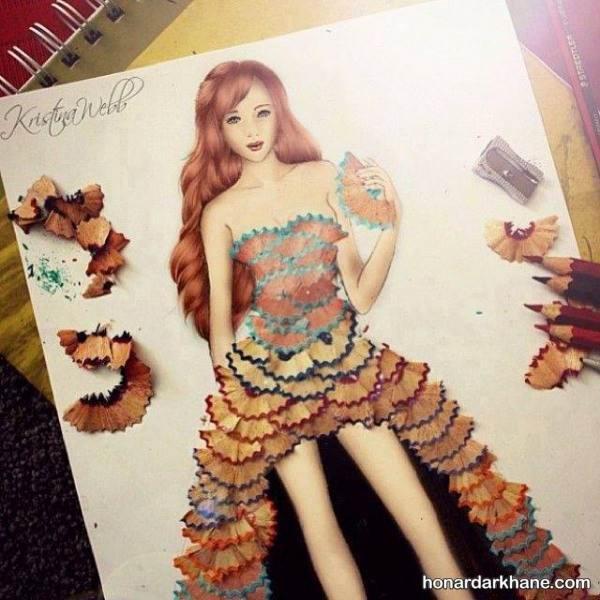 نقاشی دختر با تراشه های مداد
