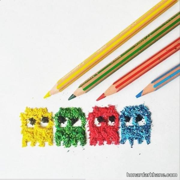 نقاشی با تراشه مداد رنگی